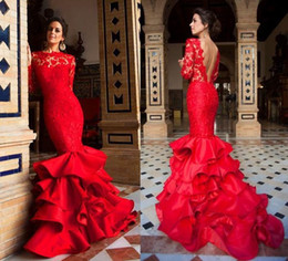 Gorgeous Red Long Sleeves Evening Dresses Illusion Bateau Neck Lace Backless Mermaid Prom Gowns With Satin Ruffled Chapel Train 2016