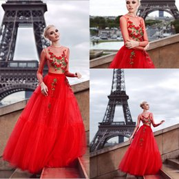 Wholesale Sheer Red Tulle Evening Dresses Illusion Neckline With Appliques Artificial Green Flowers Design Floor LENGTH Prom Dresses