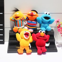 Wholesale 5pcs set Sesame Street Elmo Stuffed Plush Dolls Toys Keychain pendants Key Chain Doll cm