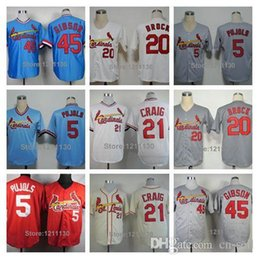 Wholesale 30 Teams New St Louis Cardinals Bob Gibson Jerseys Allen Craig Albert Pujols Lou Brock Baseball Jersey Shirt