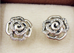 2015 New 100% 925 Sterling Silver Shimmering Rose with Clear CZ Stud Earrings Fits European Pandora Jewelry