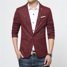 Wholesale-2016 Hot Sale Cheap Mens Blazers Winter Warm Casual Long Sleeve 65% Cotton Grey Red Stylish Blazers For Men Coats