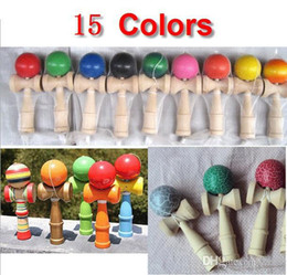 2015 Freeshipping 15 Colors Available 19CM Kendama Toy Japanese Traditional Wood ball Game Toy Education Gifts 150pcs lot Christmas gift