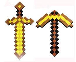 Wholesale 20pcs Minecraft Foam Diamond Sword and Pickaxe Combo Set weapons EVA axe Foam diamond pick Gold Grey Blue