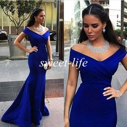 Royal Blue Elegant Long Evening Dresses 2019 Off Shoulder Satin Floor Length A-Line Party Bridesmaid Dress Prom Gowns