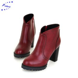 Wholesale-2015 Hot Sale Fashion Zip Square High Heel Round Toe Ankle Martin BootsWinter Women's Boots Women Shoes Black Red Yellow SB278