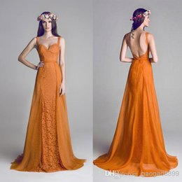 Wholesale HAMDA AL FAHIM Orange Backless Lace Chiffon Spaghetti Formal Evening Dresses Long Party Celebrity Prom Gowns Cheap