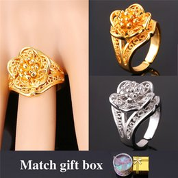 U7 18K Real Gold Plated Flower Wedding Rings For Women 2015 Fashion Jewelry With Gift Box Luxury Lord Of The Rings R1101