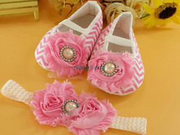 Wholesale-S1034 Cute Lace Pink Flowers Baby Girls Shoes Soft Sole Headband Baby Shoes Free Shipping