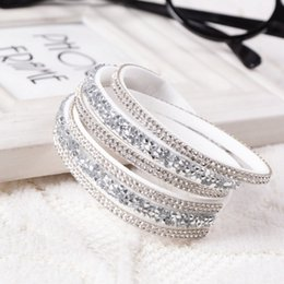 Wholesale 2014 New Fashion Layer Wrap Bracelets Slake Leather Bracelets for women With Crystals Couple Jewelry