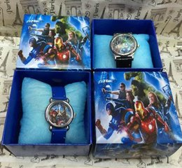 Wholesale hot Avengers cartoon Wristwatches kids watches with box Children Gift Boys Girls Cartoon Watches