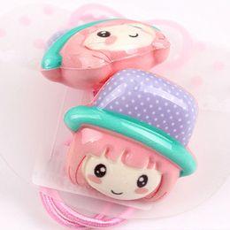 Wholesale Cute cartoon doll acrylic children ring hair rope FS00123