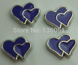 Vintage Silver Enamel Double Heart Floating Locket Charms For Origami Owl Floating Memory Lockets Necklace Jewelry Findings 200Pcs Q565