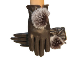 Wholesale-Top quality Popular Faux Leather Gloves For Women Men Unisex Winter Warm Gloves Outdoor Sports PU Mittens With Fur Ball Design