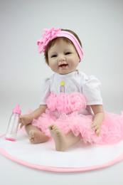 """55cm 22""""Acrylic&soft Silicone Simulation cloth body Reborn Baby Doll Girl 22NPK6902"""