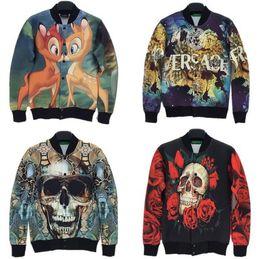 Wholesale 2014 fall autumn New men women Jackets lovers casual cardigan jacket deer skull rose print baseball outwear men coat men s clothing CHLG