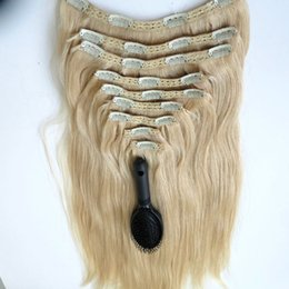 320g 9pcs 1set Clip in Hair Extensions 20 22inch #60 Platinum Blonde Brazilian Indian Remy human hair extension