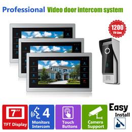 Acheter en ligne Lcd moniteur d'affichage vidéo-YSECU porte téléphone moniteur caméra vidéo interphone 3V1 Home Security 3 intérieur écran LCD 1 1200TVL Pinhole vue