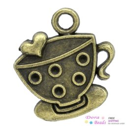 Wholesale Charm Pendants Coffee Tea Cup Mug Antique Bronze Heart Carved Cabochon Setting Fits mm Dia x22mm K02560 seasons pendant ball