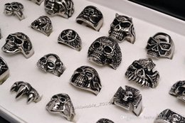 Wholesale 2016 Hot sale L Stainless steel Retro Ring Skull carved Biker men rings Alloy Jewelry rs0095