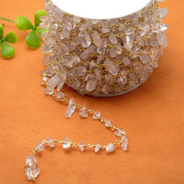 DIY 16 Feet Gold Plated Wire Wrapped Freeform White Quartz Chips Chain Gem stone Beaded Chain Natural Quartz Jewelry Finding