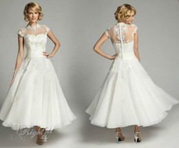 2015 Vintage High Neck Lace Sheer Tea Length Wedding Dresses Ivory Beaded Organza Short Cap Sleeve Bridal Gowns with Covered button
