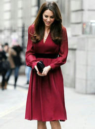 Red Women Princess Dress Sexy V-Neck Kate Middleton Dresses WF008