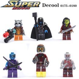 Decool Super heroes move Guardians of the Galaxy 6pcs lot ronan camora drax the destroyer nebula Building Blocks DIY Toys
