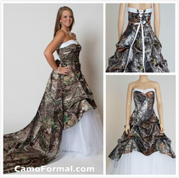 2015 Camo Camouflage Wedding Dresses with Detachable Chapel Train Bridal Dresses Unique Realtree Partten with White Tulle Wedding Gowns