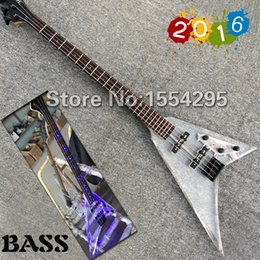 Wholesale Factory custom flying V J shape Acrylic Electric Bass Transparent Body Bass Guitar LED Light Black Hardware