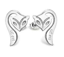 Wholesale 40 New Animate Jewelry Fox Silver Earrings Love Elegant Fashion Earrings for Women Cheap Errings