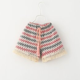 Wholesale Kids Summer Shorts Older - 2015 Kids Girls Knitting Tassel Fashion Shorts Princess Kid New Arrival Waves Belts Casual Fall Short Pants 6pcs Lot for 2-7 Years Old Girls