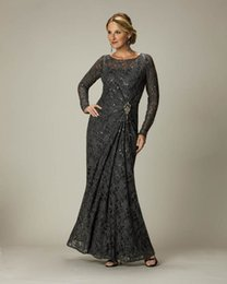 2020 New Mother of the Bride Groom Lace Formal Gown Evening Dresses Sheath Scoop Beads Crystal Long Sleeves Sheer Neckline Gray