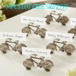 """(50PCS LOT) 2014 Newest Wedding Place card holder """"Le Tour"""" Bicycle Place Card Photo Holder For antique wedding gift Free Shipping"""