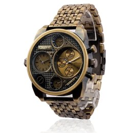 Wholesale New Oulm Men Watch Gold Full Steel Men Quartz Military Watch Dual Time Zone Analog Clock Waterproof Brand Men Wristwatches