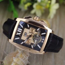 Wholesale luxury Mens FLYING B GOLDEN STAINLESS STEEL tourbillion A4436512 B873SS Black Dial Automatic Men s Watches Mens Watch