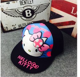 Wholesale 2016 New Arrival Children Girls Cute KT Cat Baseball Hats Cotton Sport Hat Kids Fashion Cartoon Caps Baby Boy Girl Cap Child Hat