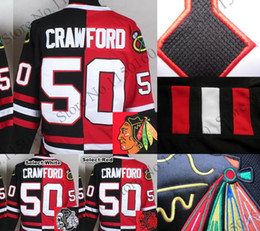 2016 New, Mens Chicago Blackhawks #50 Corey Crawford Split Jersey Split Skull Head Red White High Quality Cheap Sale Fast Shipping
