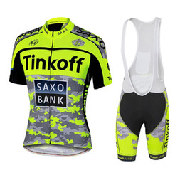 Wholesale Tinkoff Saxo New Arrival Cycling Jersey Set Fluo Yellow Color Short Sleeve With Padded Bib Trousers Ultra Breathable Bike Wear
