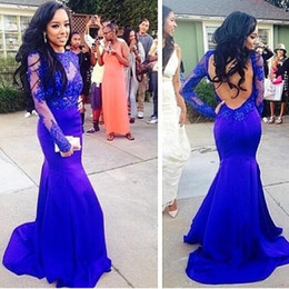 2015 Mermaid Royal Blue Applique Prom Dresses With Long Sleeve Sweep Train Vintage Lace Sheer High Neck Celebrity Evening Gowns Party Gown