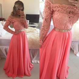 Coral Off Shoulder Sheer Evening Dresses 2015 Loong Sleeve Lace Appliqued Beaded A Line Chiffon Fabric Party Prom Gowns High Quality