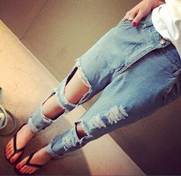 Wholesale Elina s shop New fashion women hole skinny ripped boyfriend pantalones y jeans salopette denim vaqueros mujer s m l