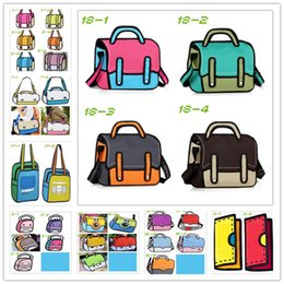 Wholesale-3d cartoon Shoulder Bags tote handbag caricature female messenger bags 25 style travel purse beach school bags bolsa feminina