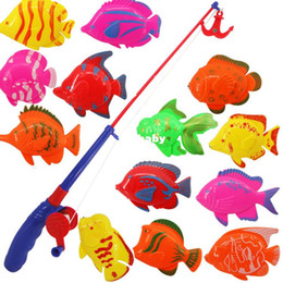 Wholesale New Magnetic Fishing Toy Rod Model Net Fish Kid Children Baby Bath Time Fun Game