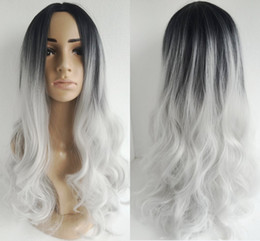 Long Curly hair ombre wigs two tone natural black silver white Synthetic hair wigs medium length long Bobo wigs for women wig