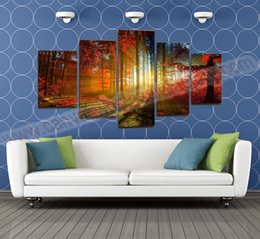 Wholesale 5 Panel Forest Painting Canvas Wall Art Picture Home Decoration Living Room Canvas Prints Modern Landscape Painting Canvas Art