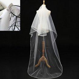 Wholesale 3Meters Long Ribbon Edge Wedding Veils White Ivory Scrap Edge Bridal Veil Accessories Two Layer Tulle Wedding Long Veil With Comb