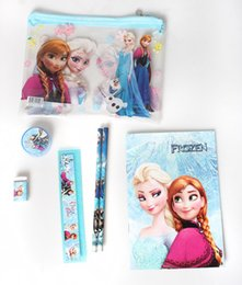 Wholesale 6pcs set Froze Children Gift School Stationary Elsa Anna Kids Birthday Present Study Set Notebook Erase Pencil Sharpener Ruler Set H2070