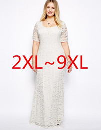 newest 2015 Plus Size Women Dresses XXL-9XL Lace Hollow Out Short Sleeves Crochet Top Chiffon Sexy Plus Size White Black Maxi Dress Vestidos