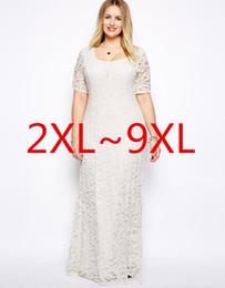 newest Plus Size Women Dresses XXL-9XL Lace Hollow Out Short Sleeves Crochet Top Chiffon Sexy Plus Size White Black Maxi Dress Vestidos